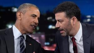 U.S. President Barack Obama talks with Jimmy Kimmel in Los Angeles, on Oct. 24, 2016. (Susan Walsh / AP)