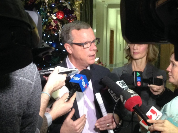 Saskatchewan Premier Brad Wall speaks to media at the provincial legislature on Wednesday, Dec. 7, 2016. (DALE HUNTER/CTV REGINA)
