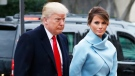 U.S. President-elect Donald Trump and his wife Melania arrives for a church service at St. John's Episcopal Church across from the White House in Washington, Friday, Jan. 20, 2017, on Donald Trump's inauguration day. (AP Photo/Alex Brandon)