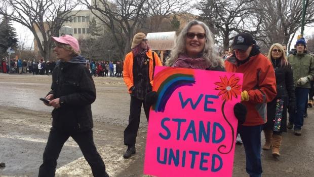 Around 1,000 people walk through Saskatoon to show solidarity for the Women's March on Washington on Jan. 21, 2017. (Angelina Irinici/CTV Saskatoon)