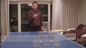 Andrew Borys is seen in a YouTube video showing off his beer pong skills. (CTV News)