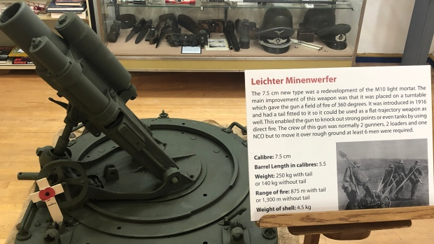 "This World War I mortar is known as the ""Leichter Minenwerfer."""