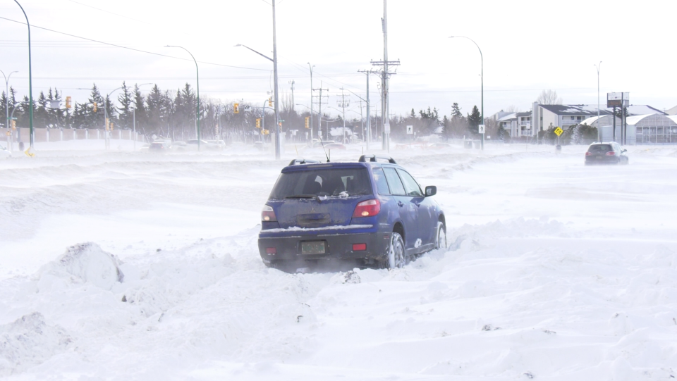 Car stuck Saskatoon Jan. 14, 2021