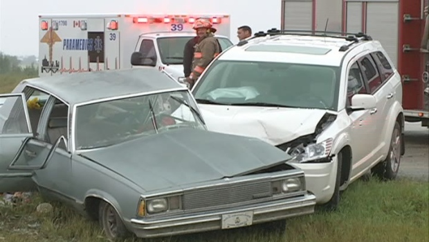 A woman died in a Saskatoon hospital on Sunday after two vehicles collided.