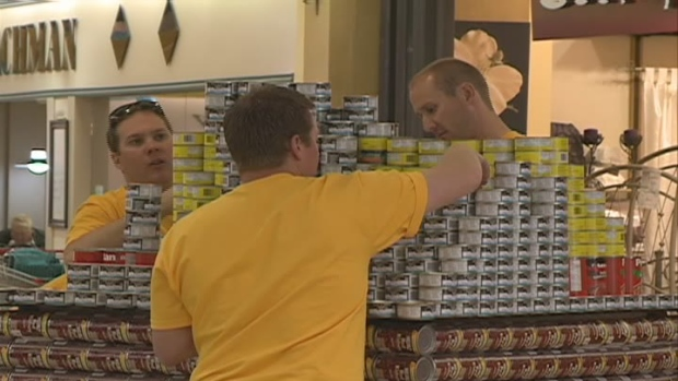 Over a dozen teams took part in CanStruction, building structures out of cans of food.